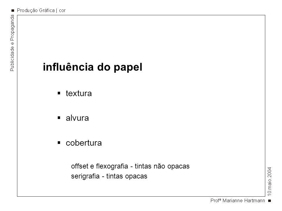 influência do papel textura alvura cobertura