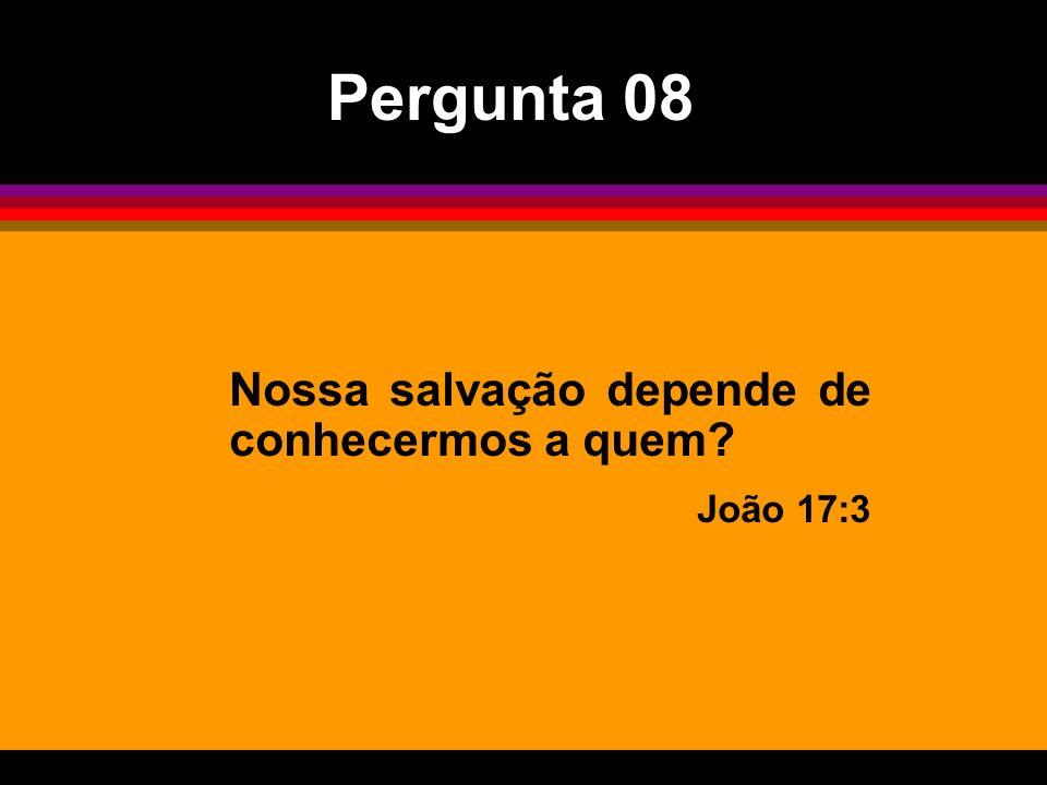 Pergunta 08 Nossa salvação depende de conhecermos a quem João 17:3