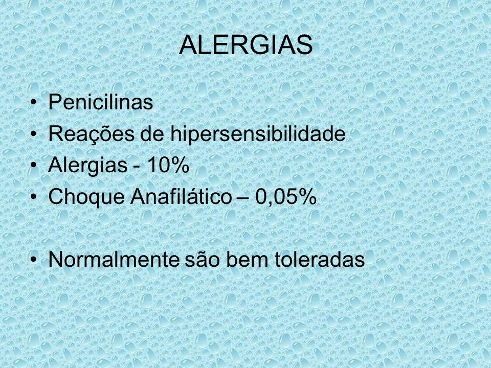 ALERGIAS Penicilinas Reações de hipersensibilidade Alergias - 10%