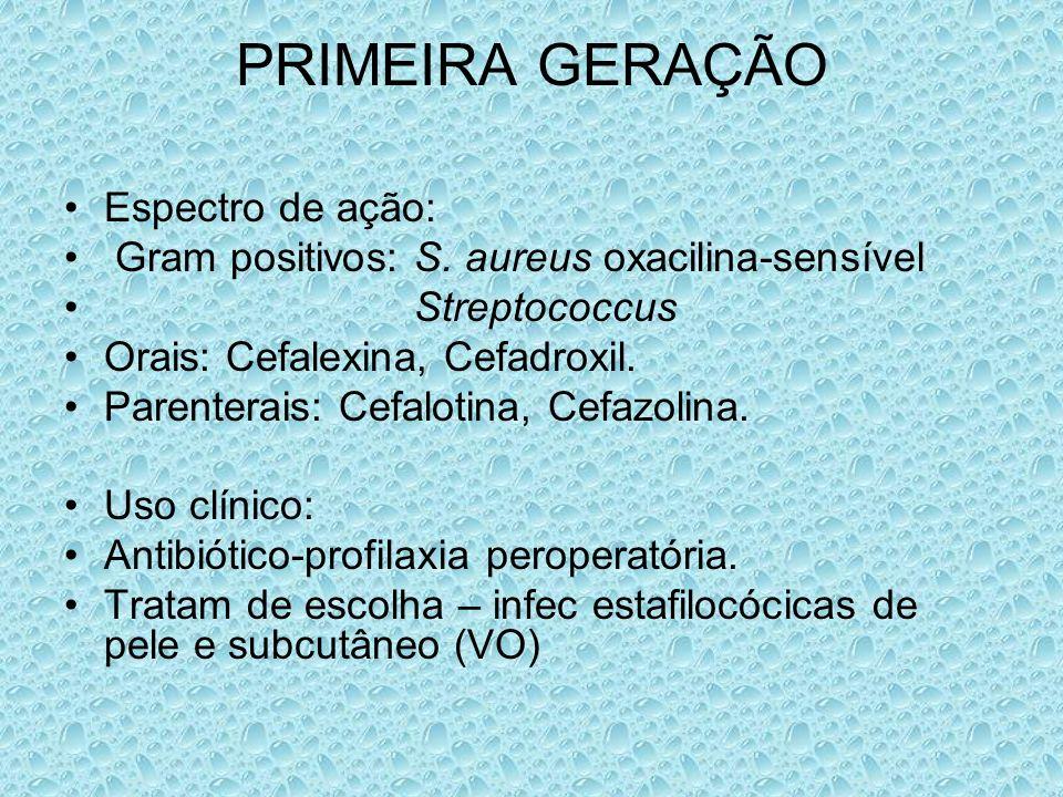 PRIMEIRA GERAÇÃO Espectro de ação:
