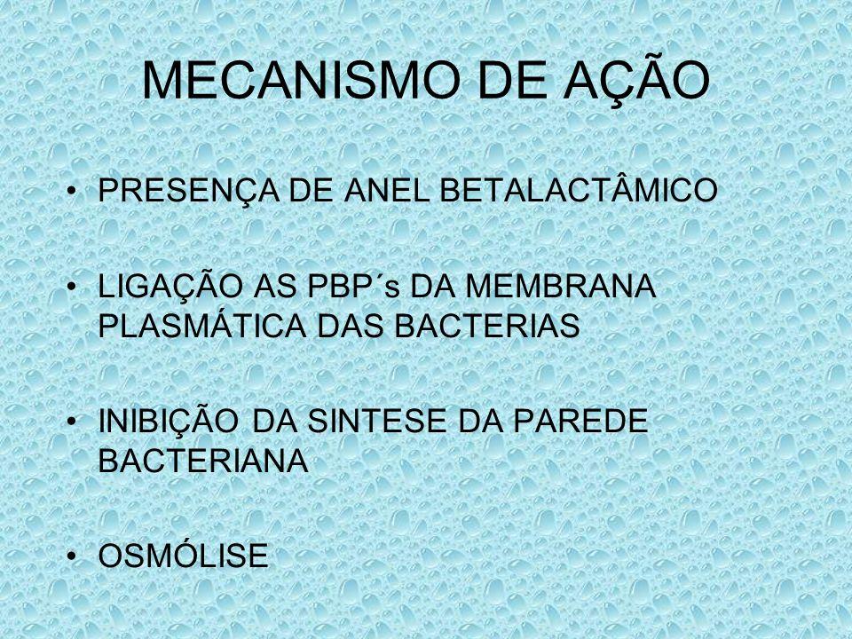 MECANISMO DE AÇÃO PRESENÇA DE ANEL BETALACTÂMICO