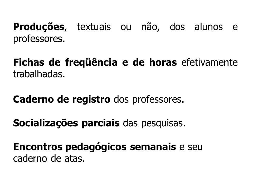 Produções, textuais ou não, dos alunos e professores.