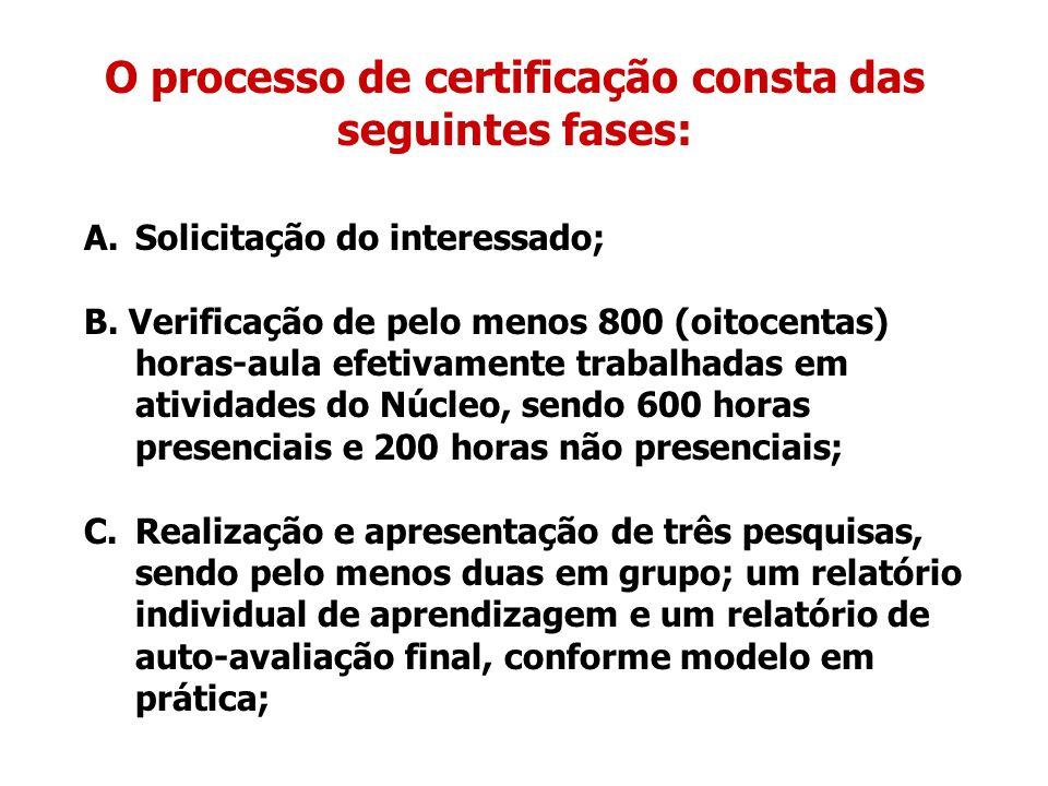 O processo de certificação consta das seguintes fases: