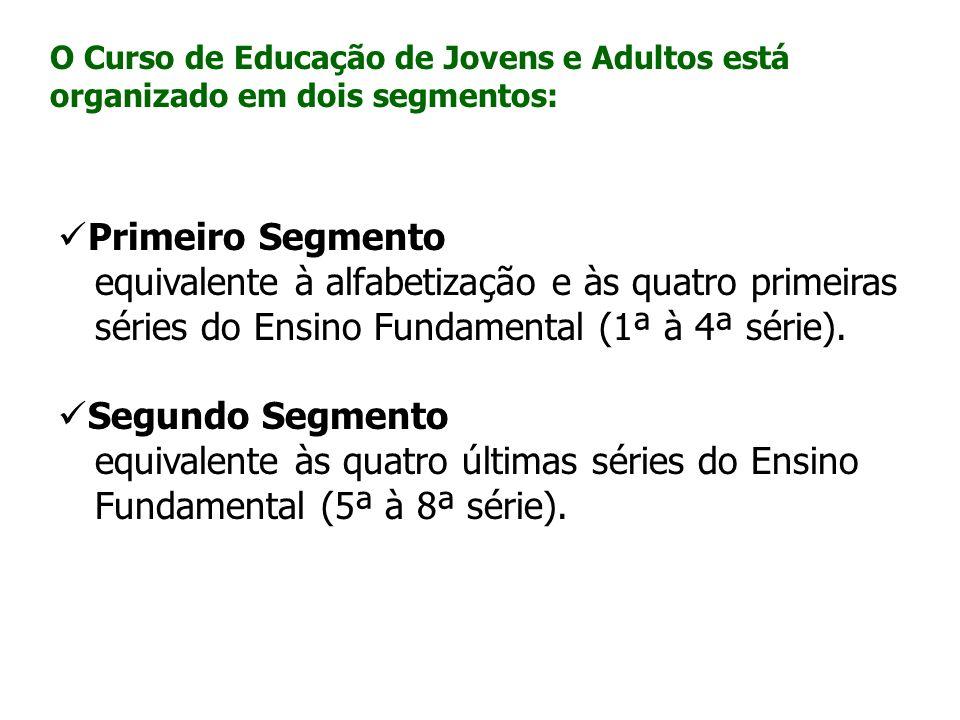 O Curso de Educação de Jovens e Adultos está organizado em dois segmentos: