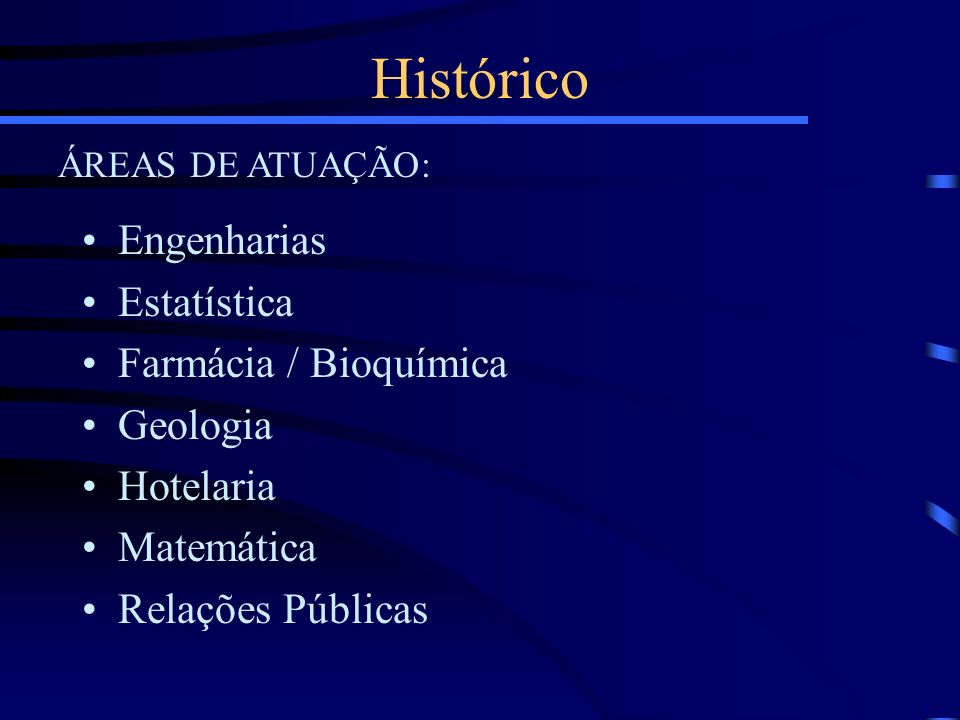 Histórico Engenharias Estatística Farmácia / Bioquímica Geologia