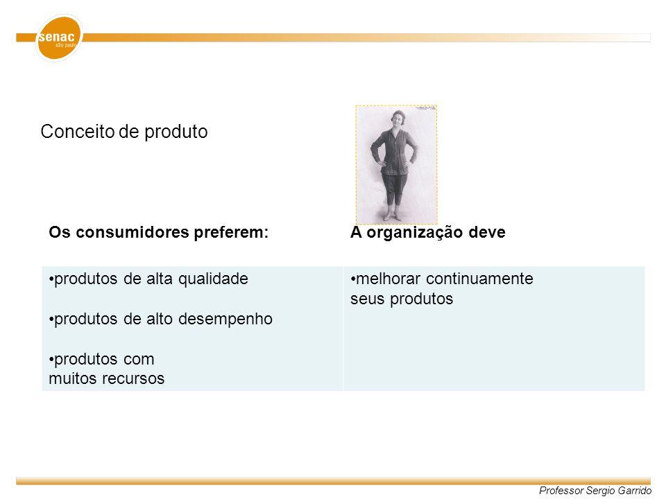 Conceito de produto Os consumidores preferem: A organização deve