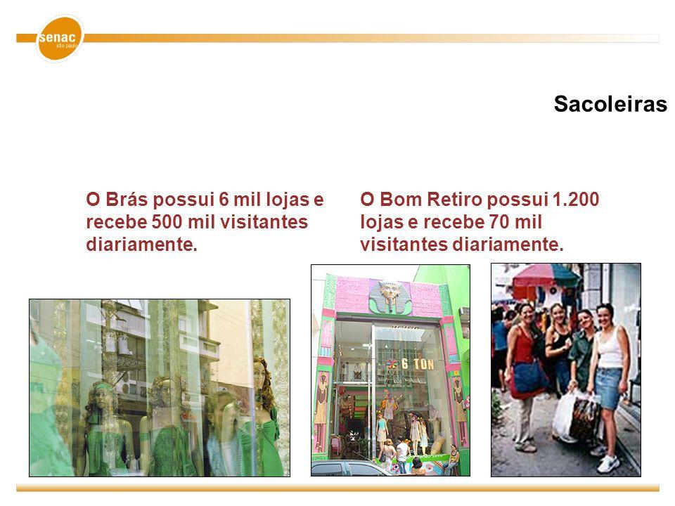 SacoleirasO Brás possui 6 mil lojas e recebe 500 mil visitantes diariamente.