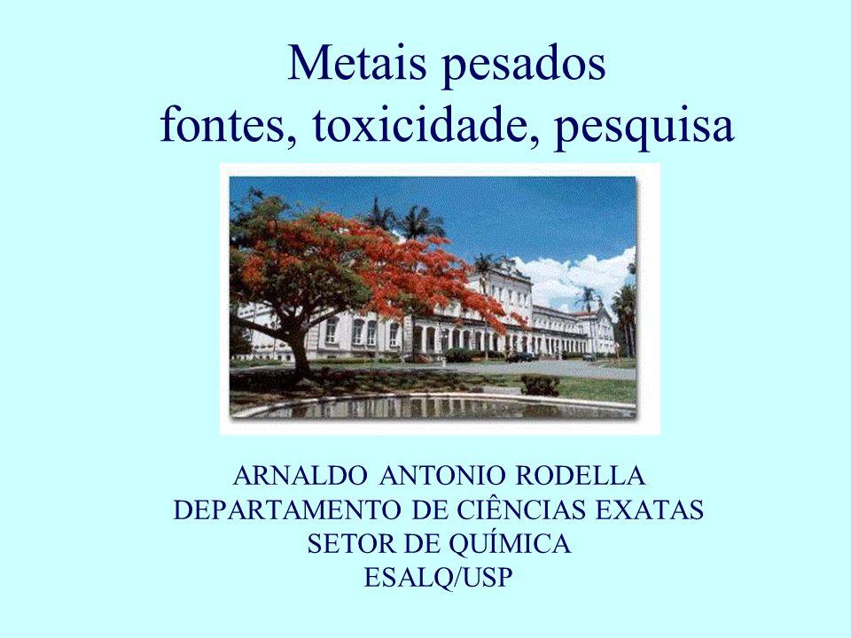 Metais pesados fontes, toxicidade, pesquisa