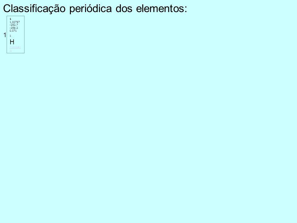 Classificação periódica dos elementos: