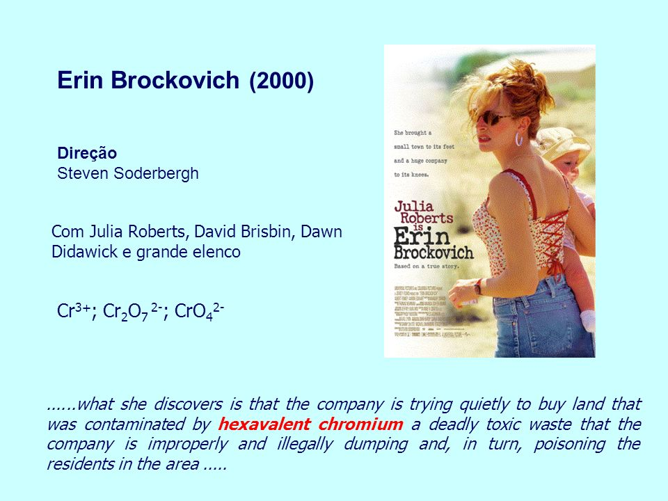 Erin Brockovich (2000) Cr3+; Cr2O7 2-; CrO42-