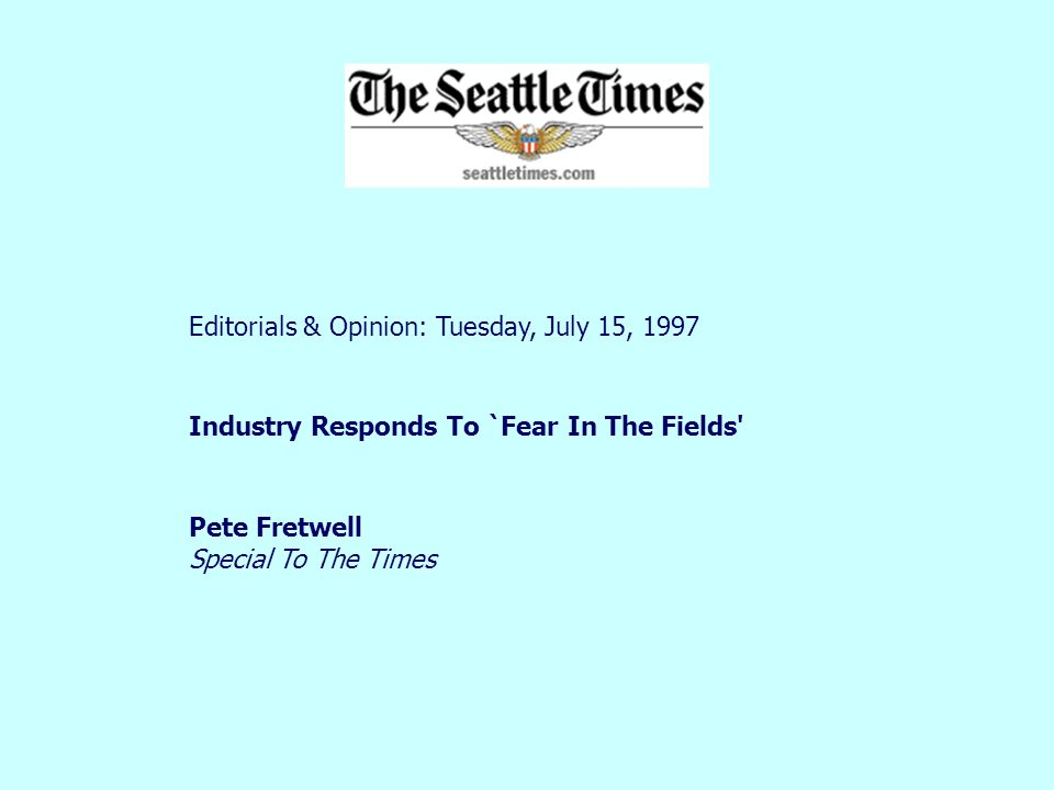 Editorials & Opinion: Tuesday, July 15, 1997