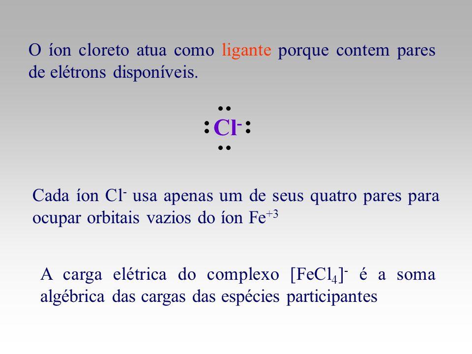 O íon cloreto atua como ligante porque contem pares de elétrons disponíveis.