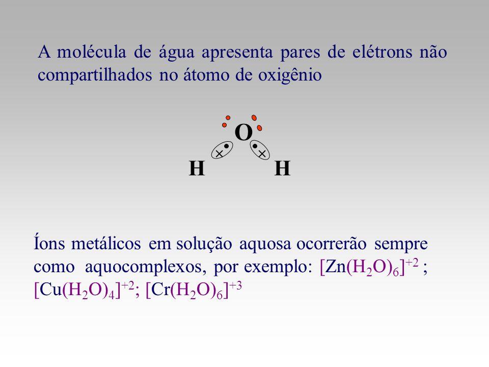 A molécula de água apresenta pares de elétrons não compartilhados no átomo de oxigênio