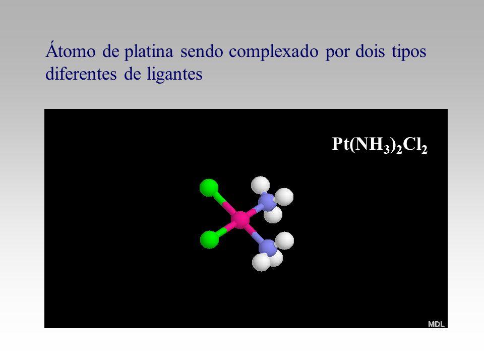 Átomo de platina sendo complexado por dois tipos diferentes de ligantes
