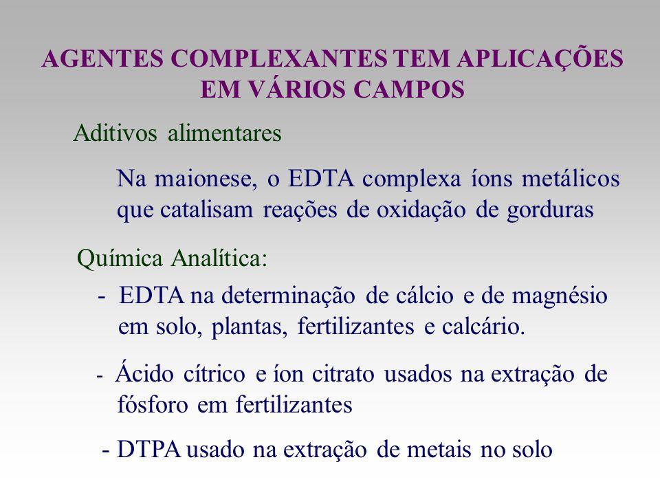 AGENTES COMPLEXANTES TEM APLICAÇÕES EM VÁRIOS CAMPOS