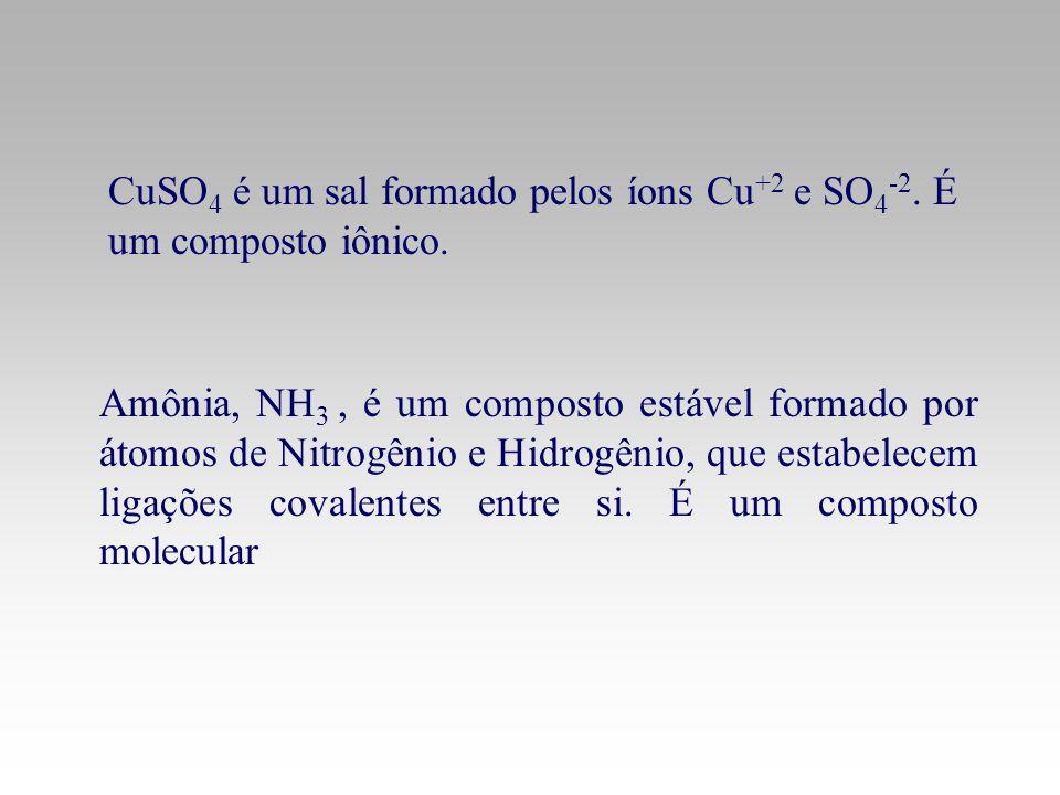 CuSO4 é um sal formado pelos íons Cu+2 e SO4-2. É um composto iônico.