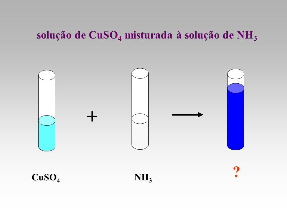 solução de CuSO4 misturada à solução de NH3