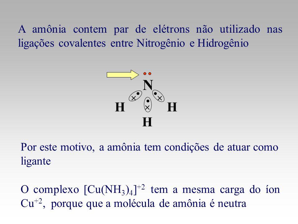 A amônia contem par de elétrons não utilizado nas ligações covalentes entre Nitrogênio e Hidrogênio