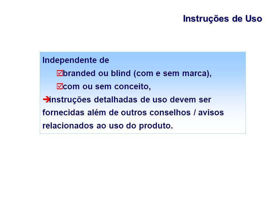 Instruções de Uso Independente de branded ou blind (com e sem marca),