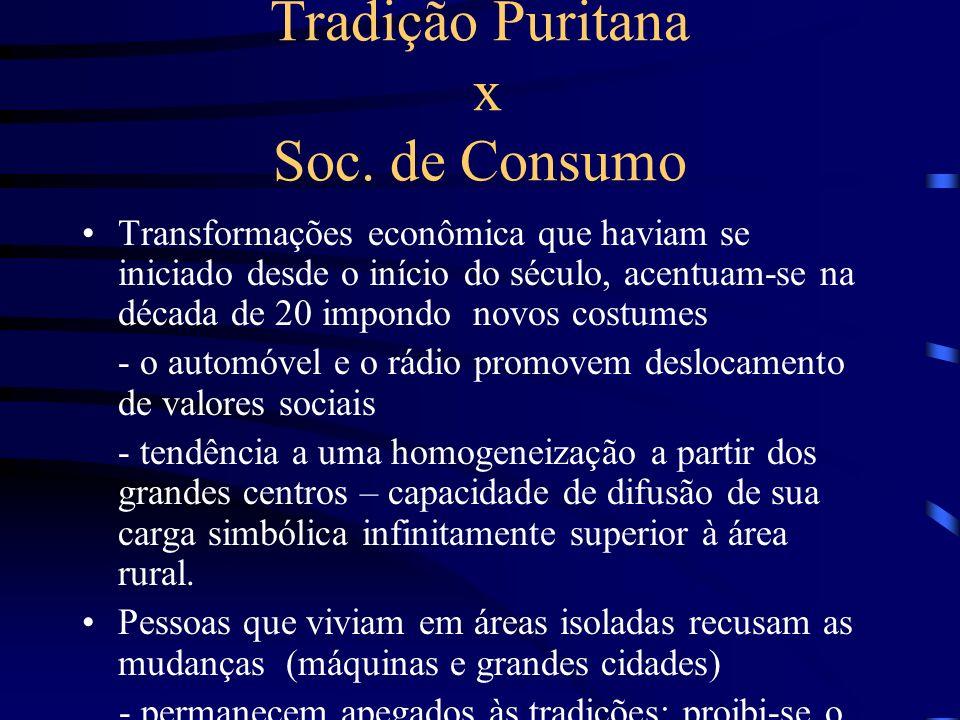 Tradição Puritana x Soc. de Consumo