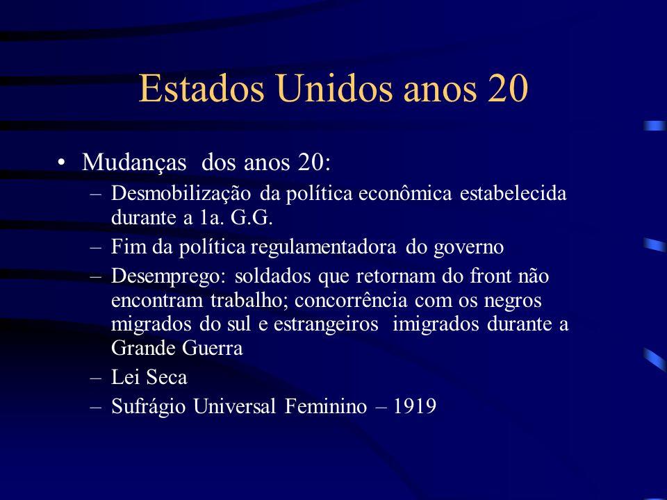 Estados Unidos anos 20 Mudanças dos anos 20: