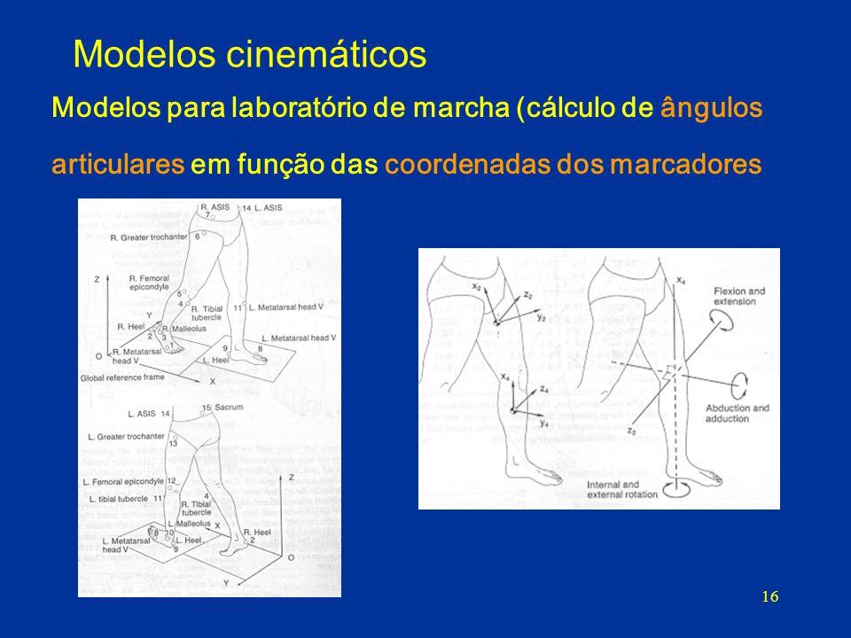 Modelos cinemáticos Modelos para laboratório de marcha (cálculo de ângulos articulares em função das coordenadas dos marcadores.