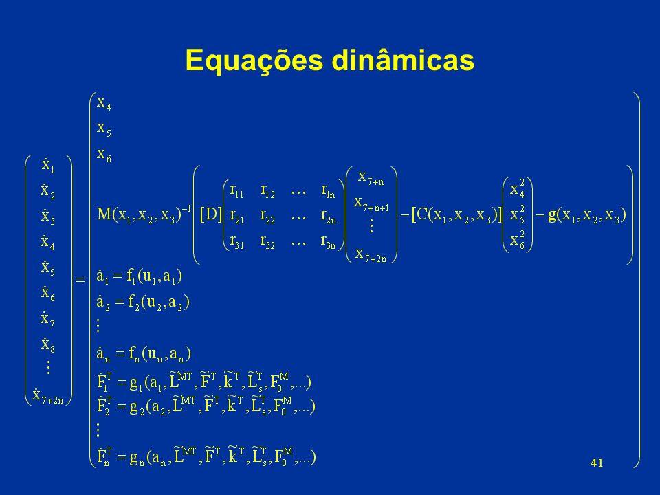 Equações dinâmicas d) Equações dinâmicas