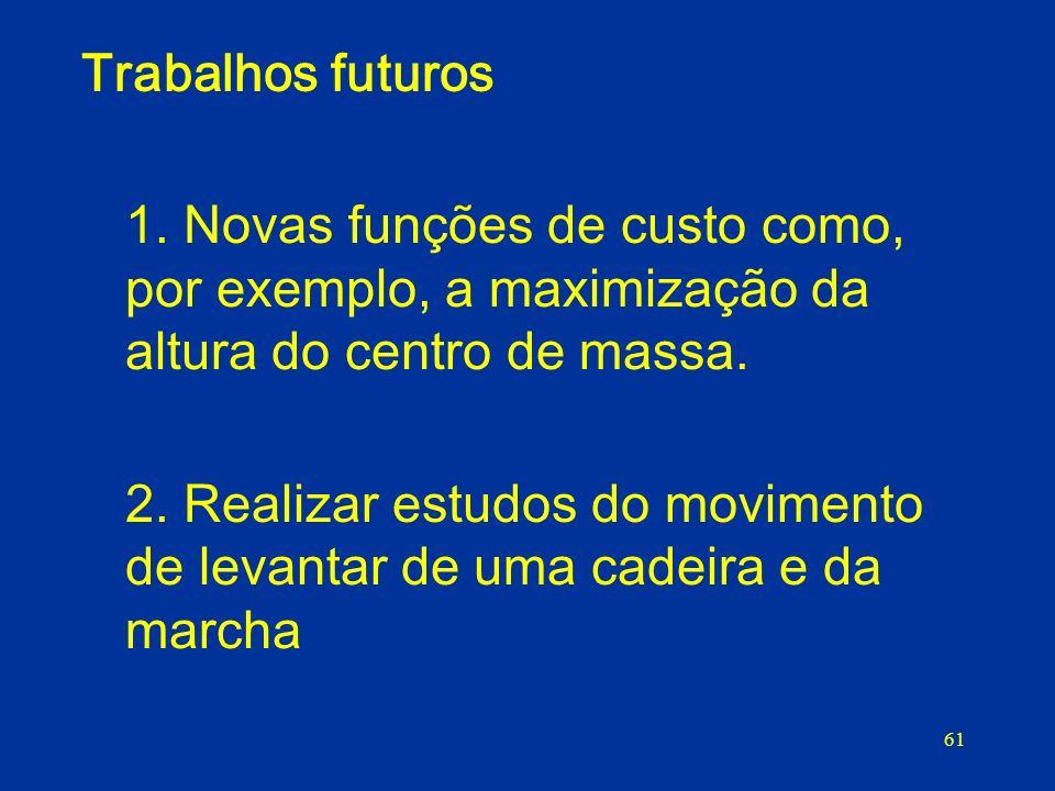 Trabalhos futuros 1. Novas funções de custo como, por exemplo, a maximização da altura do centro de massa.