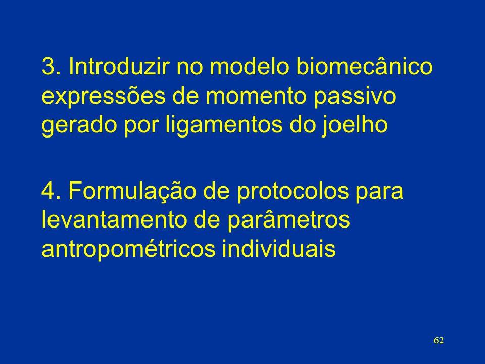 3. Introduzir no modelo biomecânico expressões de momento passivo gerado por ligamentos do joelho