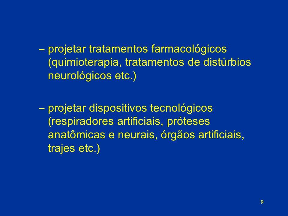 projetar tratamentos farmacológicos (quimioterapia, tratamentos de distúrbios neurológicos etc.)