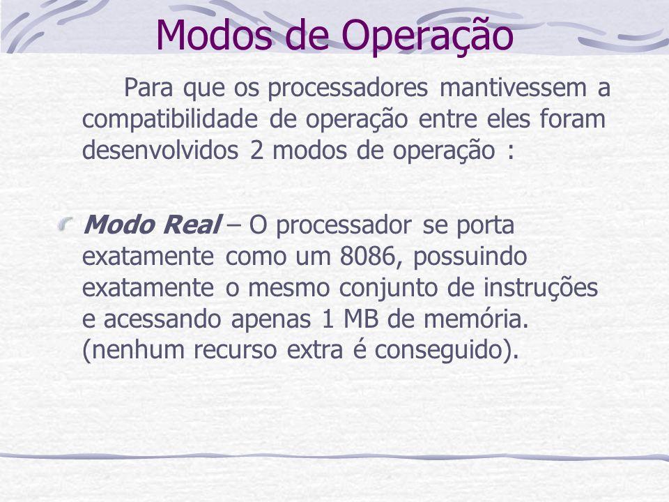 Modos de Operação Para que os processadores mantivessem a compatibilidade de operação entre eles foram desenvolvidos 2 modos de operação :