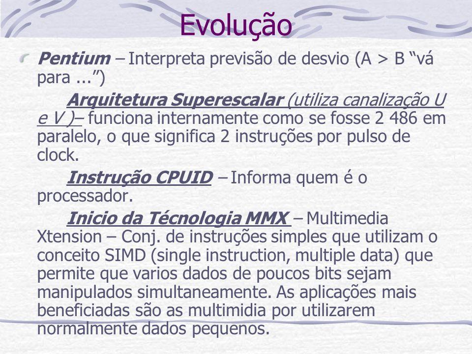 Evolução Pentium – Interpreta previsão de desvio (A > B vá para ... )