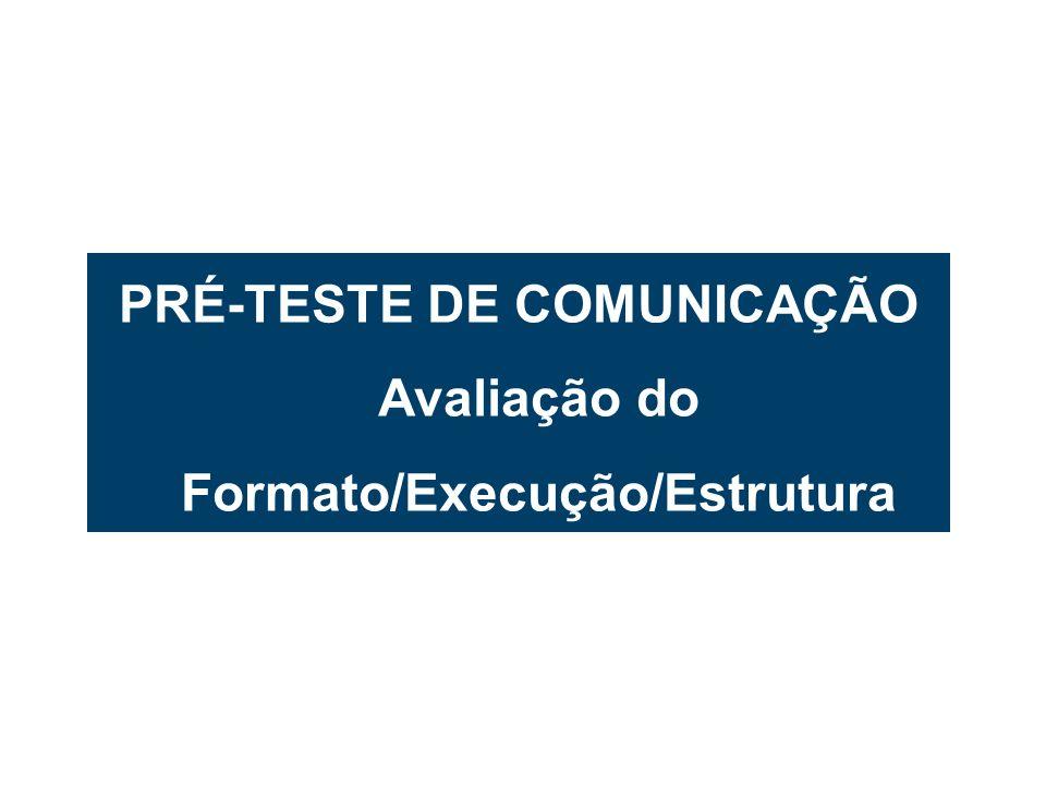 PRÉ-TESTE DE COMUNICAÇÃO Avaliação do Formato/Execução/Estrutura
