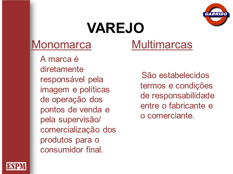 VAREJO Monomarca Multimarcas