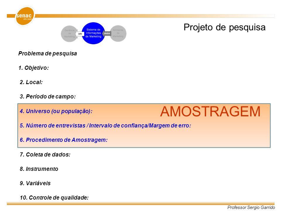 AMOSTRAGEM Projeto de pesquisa Problema de pesquisa 1. Objetivo:
