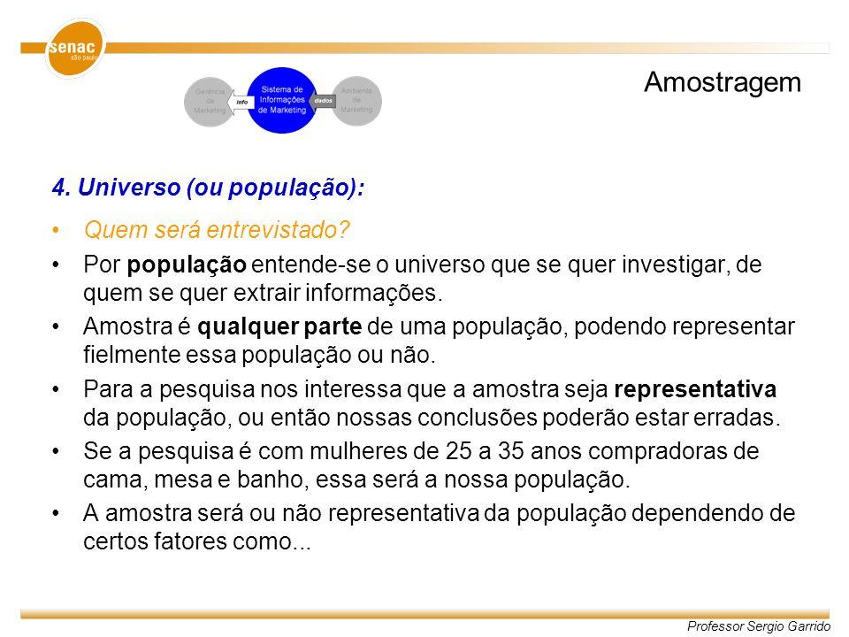 Amostragem 4. Universo (ou população): Quem será entrevistado