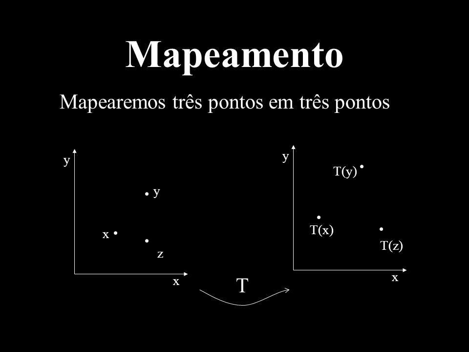 Mapeamento Mapearemos três pontos em três pontos T T(y) y T(x) x T(z)