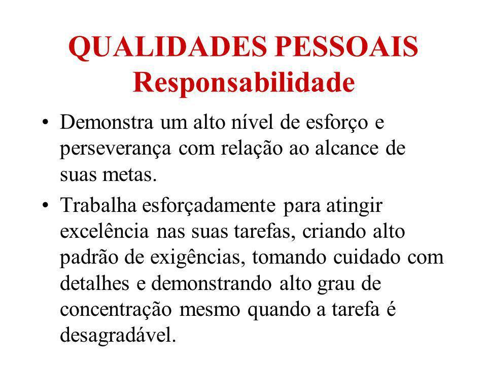 QUALIDADES PESSOAIS Responsabilidade