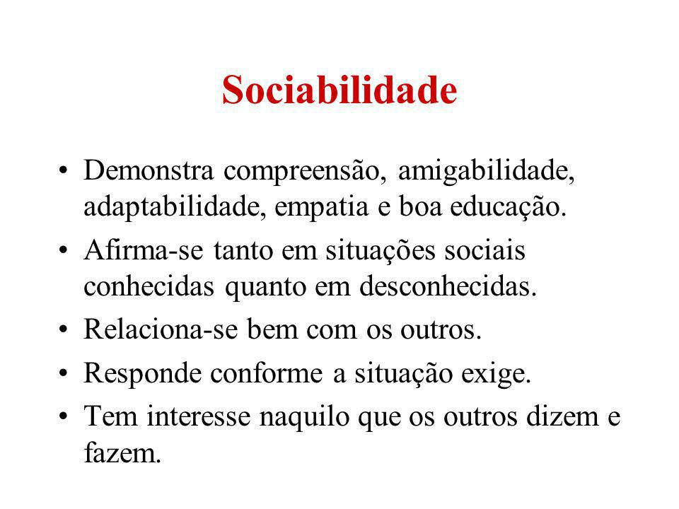 Sociabilidade Demonstra compreensão, amigabilidade, adaptabilidade, empatia e boa educação.