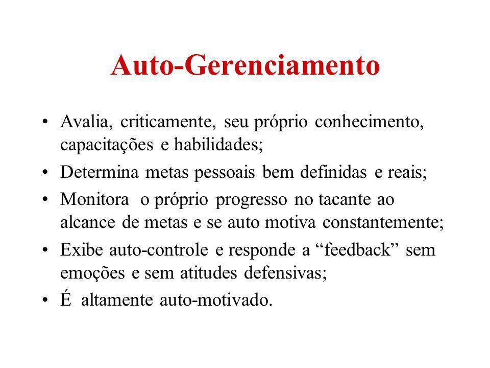 Auto-Gerenciamento Avalia, criticamente, seu próprio conhecimento, capacitações e habilidades; Determina metas pessoais bem definidas e reais;