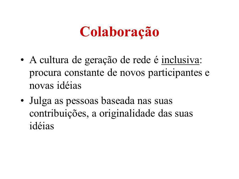 Colaboração A cultura de geração de rede é inclusiva: procura constante de novos participantes e novas idéias.