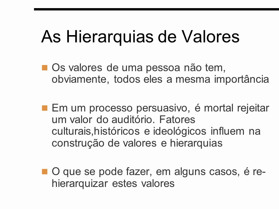 As Hierarquias de Valores