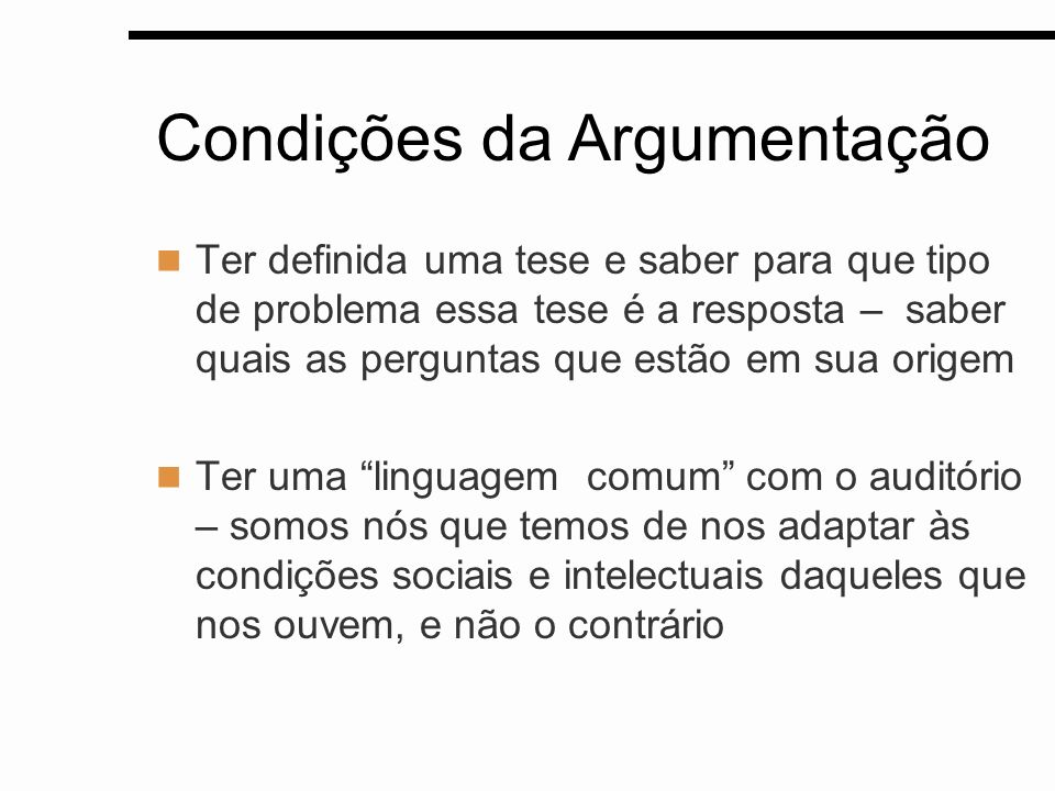 Condições da Argumentação