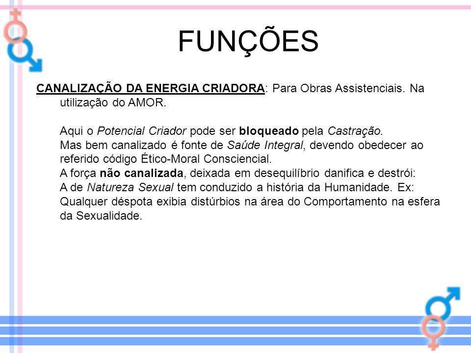 FUNÇÕES CANALIZAÇÃO DA ENERGIA CRIADORA: Para Obras Assistenciais. Na utilização do AMOR.