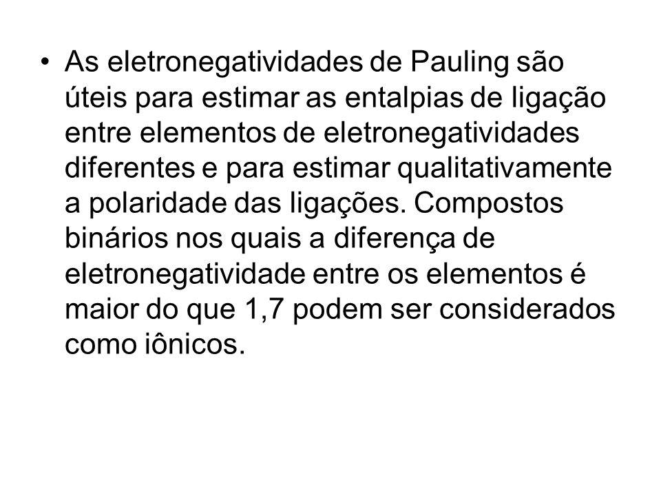 As eletronegatividades de Pauling são úteis para estimar as entalpias de ligação entre elementos de eletronegatividades diferentes e para estimar qualitativamente a polaridade das ligações.
