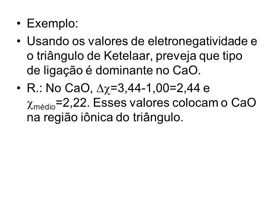 Exemplo: Usando os valores de eletronegatividade e o triângulo de Ketelaar, preveja que tipo de ligação é dominante no CaO.