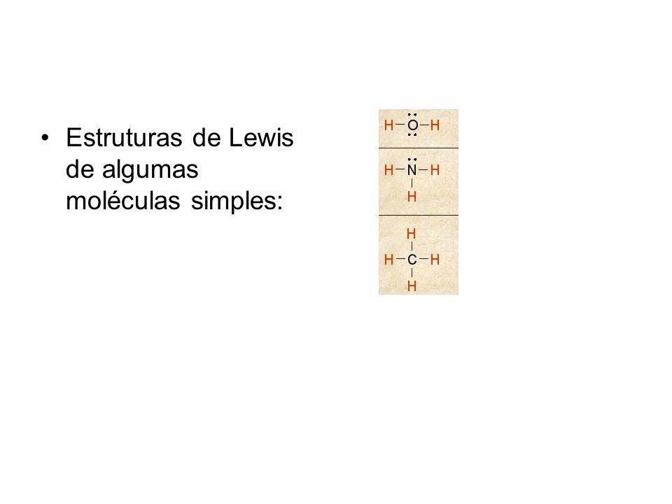 Estruturas de Lewis de algumas moléculas simples: