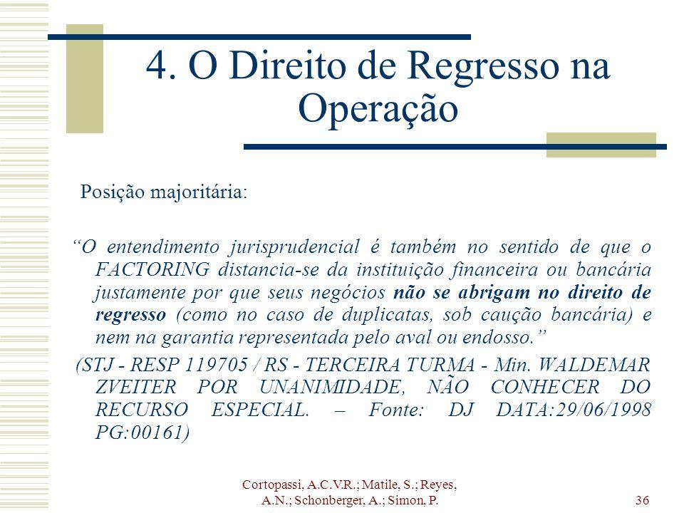4. O Direito de Regresso na Operação