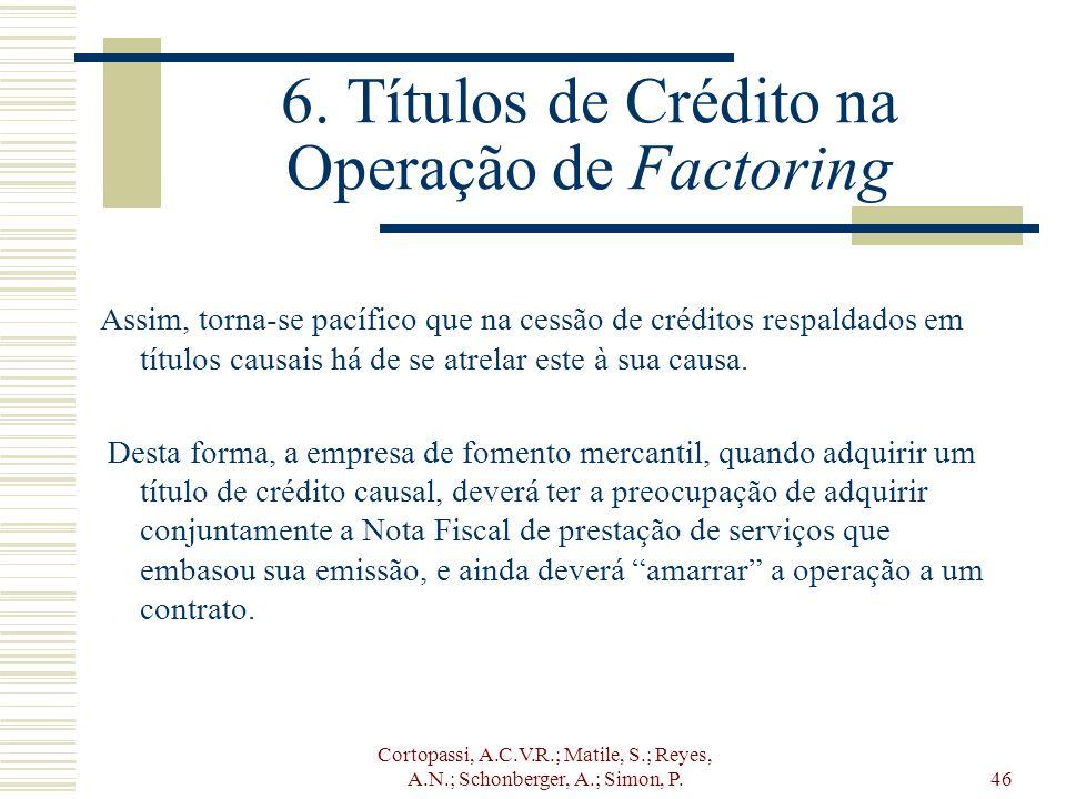 6. Títulos de Crédito na Operação de Factoring