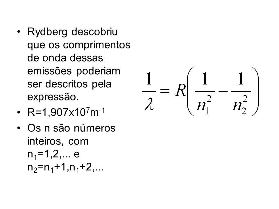 Rydberg descobriu que os comprimentos de onda dessas emissões poderiam ser descritos pela expressão.